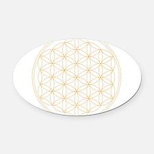 Flower of Life Gold Line Oval Car Magnet