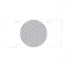Flower of Life Single White Aluminum License Plate