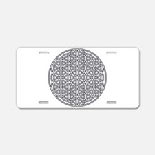 Flower of Life Single White Aluminum License Plate