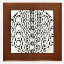 Flower of Life Single White Framed Tile