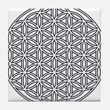 Flower of Life Single White Tile Coaster