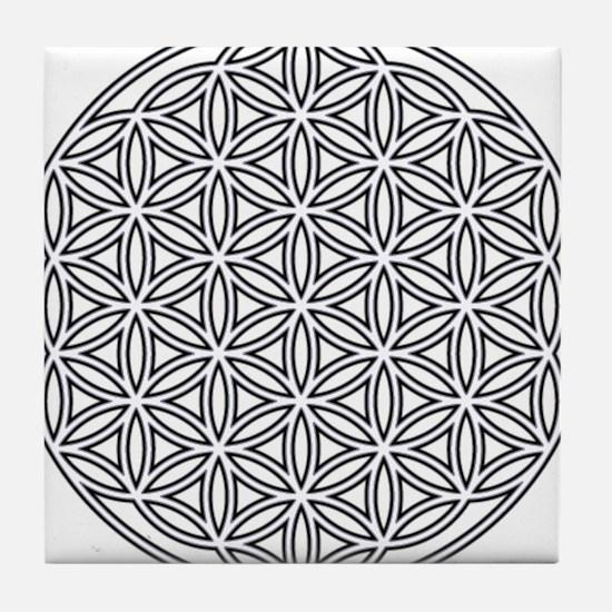 Flower of Life Single White Tile Coaster