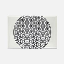 Flower of Life Single White Rectangle Magnet (10 p
