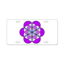 Flower of Life PurplePink Aluminum License Plate