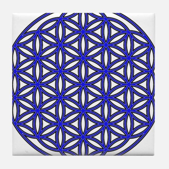 Flower of Life Single Blue Tile Coaster