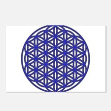 Flower of Life Single Blue Postcards (Package of 8