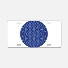 Flower of Life Blue Silver Aluminum License Plate