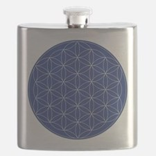 Flower of Life Blue Silver Flask