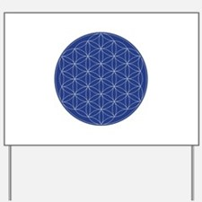 Flower of Life Blue Silver Yard Sign