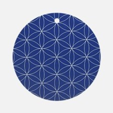 Flower of Life Blue Silver Round Ornament