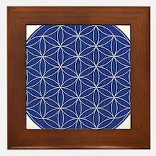 Flower of Life Blue Silver Framed Tile