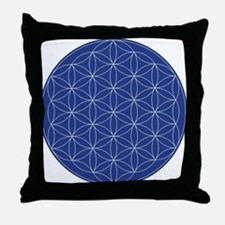 Flower of Life Blue Silver Throw Pillow