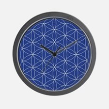 Flower of Life Blue Silver Wall Clock