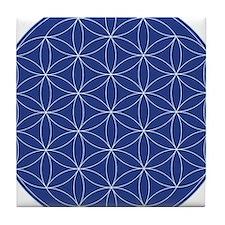 Flower of Life Blue Silver Tile Coaster