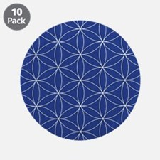 "Flower of Life Blue Silver 3.5"" Button (10 pack)"
