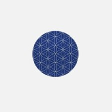 Flower of Life Blue Silver Mini Button (10 pack)
