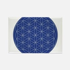 Flower of Life Blue Silver Rectangle Magnet