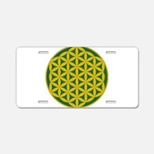 flower of life gold and green Aluminum License Pla