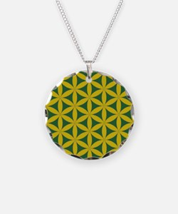 flower of life gold and green Necklace