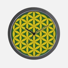 flower of life gold and green Wall Clock