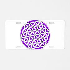 Flower of Life Purple Aluminum License Plate