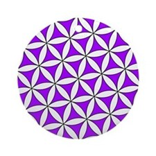 Flower of Life Purple Round Ornament