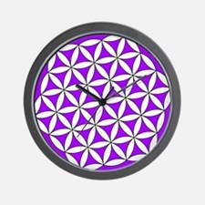 Flower of Life Purple Wall Clock