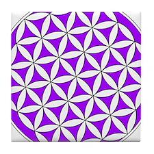 Flower of Life Purple Tile Coaster