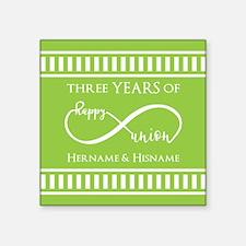 """Personalized Anniversary In Square Sticker 3"""" x 3"""""""