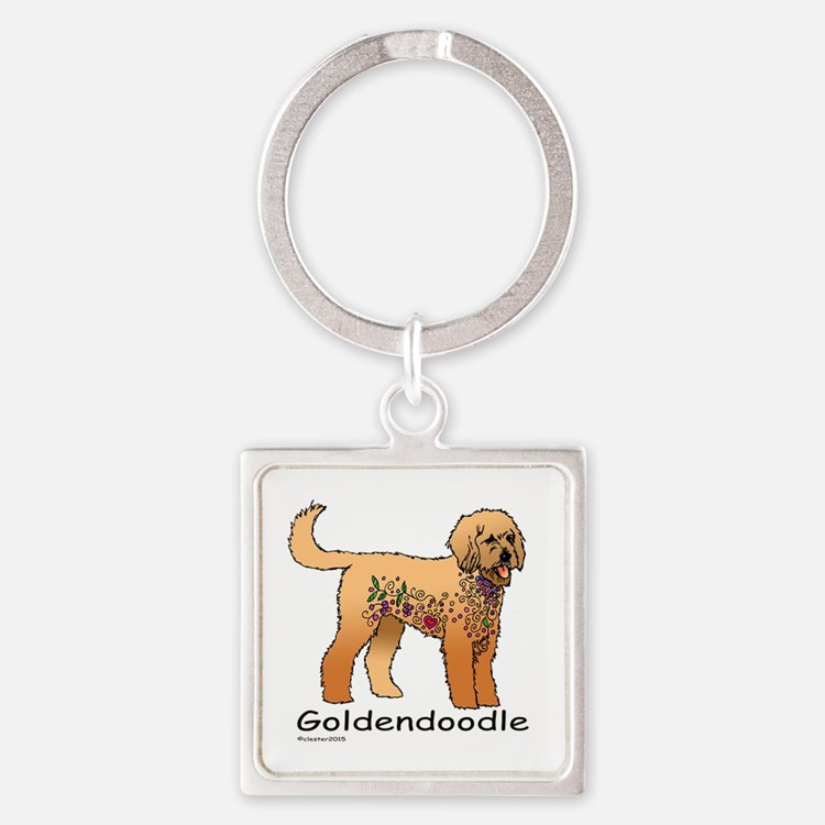 Tangle Goldendoodle Square Keychain