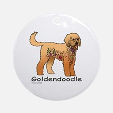 Tangle Goldendoodle Round Ornament