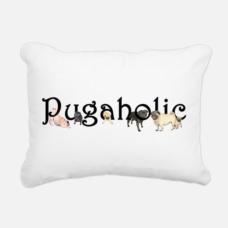 Pugaholic Rectangular Canvas Pillow