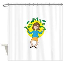Happy Lady and Money Shower Curtain