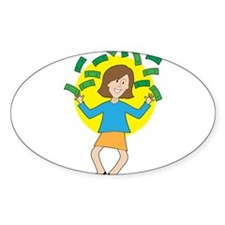 Happy Lady and Money Decal