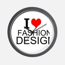 I Love Fashion Design Wall Clock