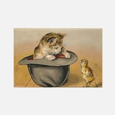 Cat and Chick Vintage Poster Magnets