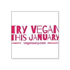"""Cute Vegan Square Sticker 3"""" x 3"""""""