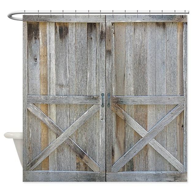 old rustic barn door shower curtain by rebeccakorpita On barn shower curtain