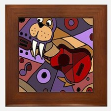 Funny Walrus Playing Guitar Framed Tile