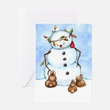 Snowman With Bunnies Greeting Cards (Pk of 10)