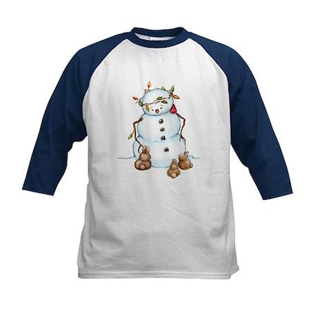 Snowman With Bunnies Kids Baseball Jersey