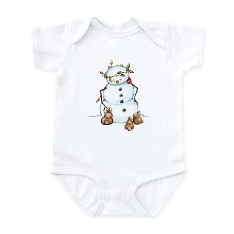 Snowman With Bunnies Infant Bodysuit