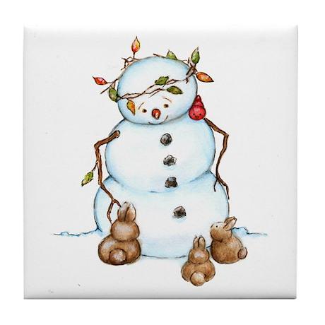 Snowman With Bunnies Tile Coaster