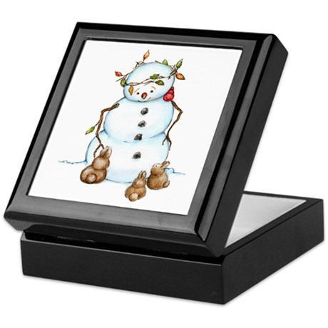 Snowman With Bunnies Keepsake Box