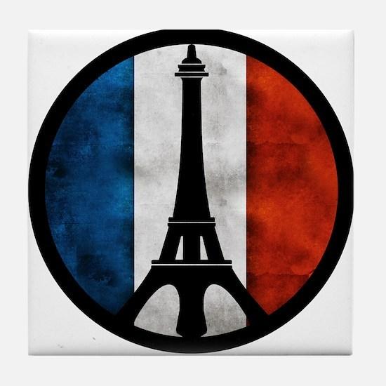 Peace in Paris 2 Tile Coaster