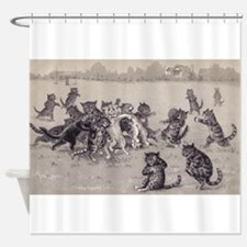 Vintage Cats Playing Football Shower Curtain