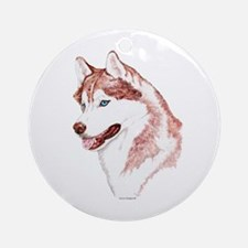 Siberian Husky, Red Blue Eyes Round Ornament
