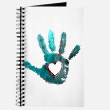 Hand Heart Red Teal Gray Journal