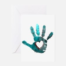 Hand Heart Red Teal Gray Greeting Cards