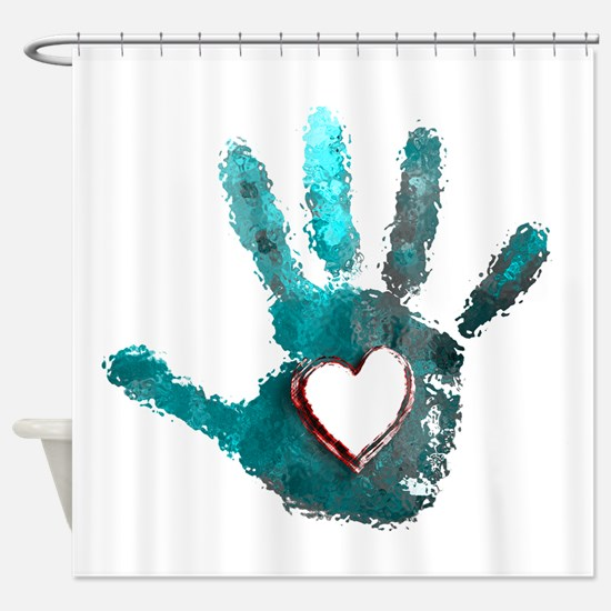Hand Heart Red Teal Gray Shower Curtain